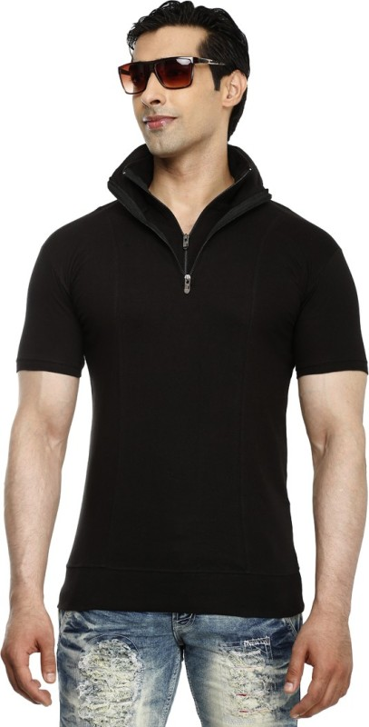 Tees Collection Solid Men's Polo Neck Black T-Shirt