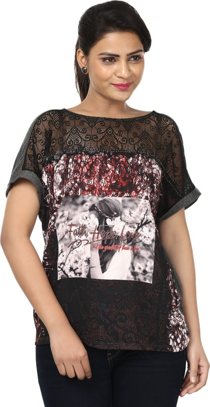 Raw Designs Printed Women's Scoop Neck Grey T-Shirt