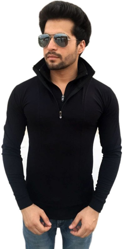 Tees Collection Solid Men's Flap Collar Neck Black T-Shirt