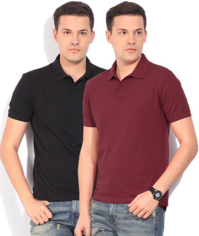 Peter England Solid Mens Polo Neck Red T-Shirt(Pack of 2)