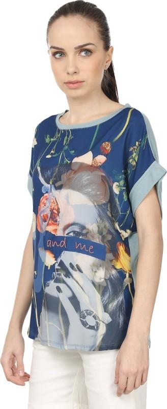 Raw Designs Printed Women's Round Neck White, Black T-Shirt