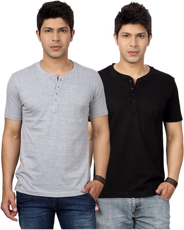 Top Notch Solid Men's Henley Grey, Black T-Shirt(Pack of 2)