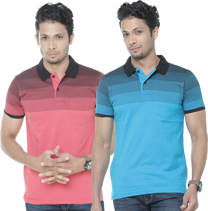 WEXFORD Striped Men Polo Neck Multicolor T-Shirt(Pack of 2)