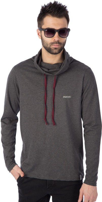 Rodid Solid Men Hooded Grey T-Shirt