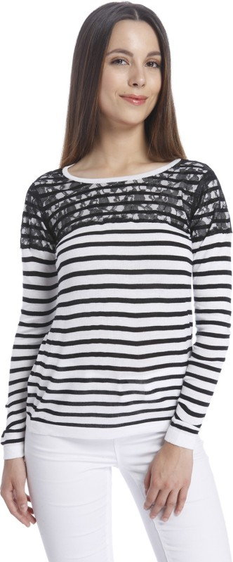 Vero Moda Casual Regular Sleeve Striped Women Black, White Top