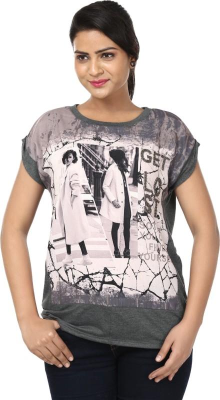 Raw Designs Printed Women's Round Neck Grey T-Shirt