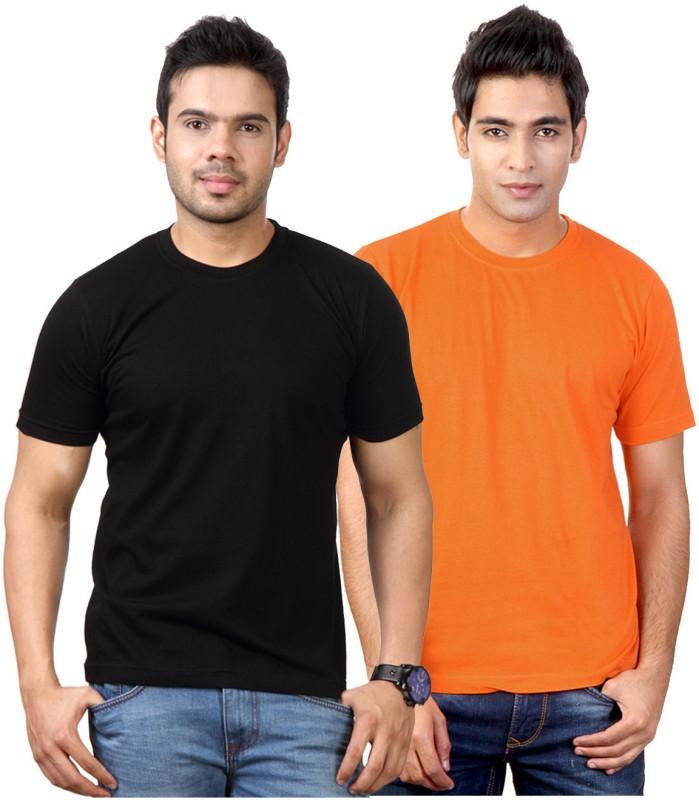 Top Notch Solid Men's Round Neck Black, Orange T-Shirt(Pack of 2)