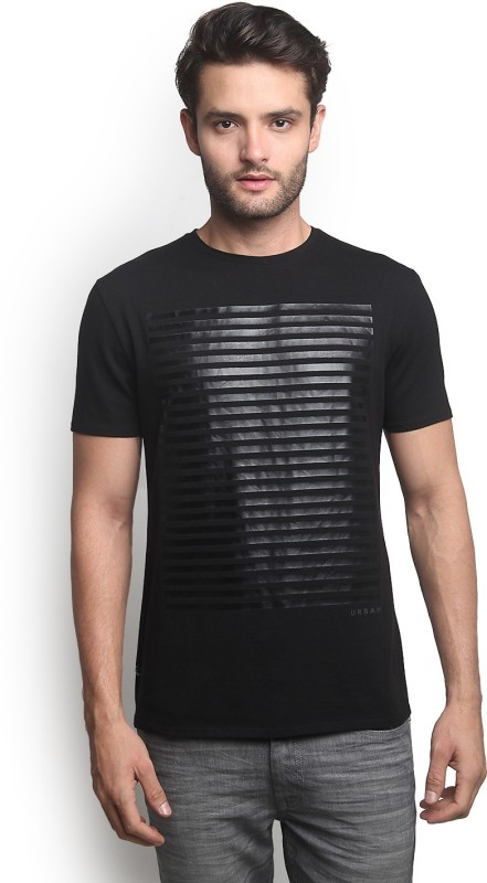 Blackberrys Printed Mens Round Neck Black T-Shirt