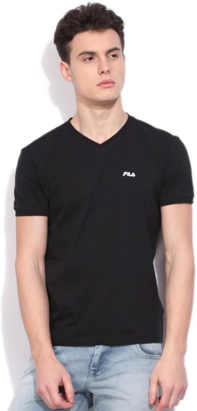 Fila Solid Mens V-neck Black T-Shirt