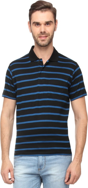 Proline Striped Mens Polo Neck Black T-Shirt