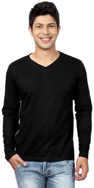 Top Notch Solid Men's V-neck Black T-Shirt