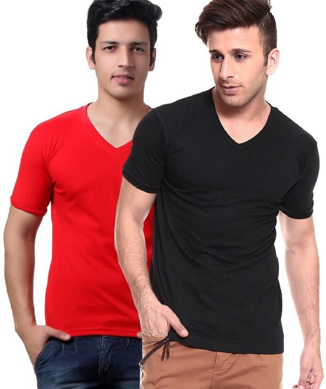 Tripr Solid Men's V-neck Multicolor, Black, Red T-Shirt(Pack of 2)