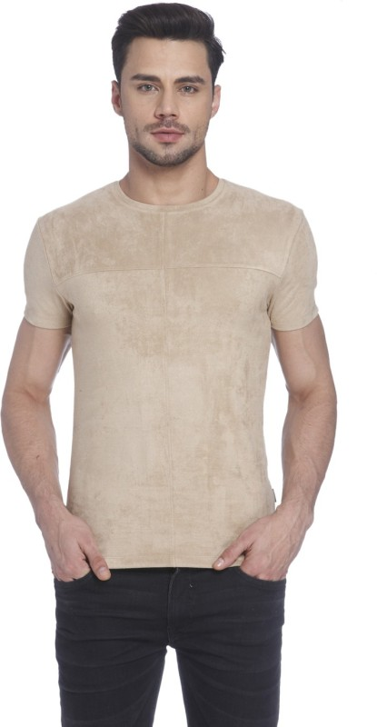 Jack & Jones Solid Mens Round Neck Beige T-Shirt