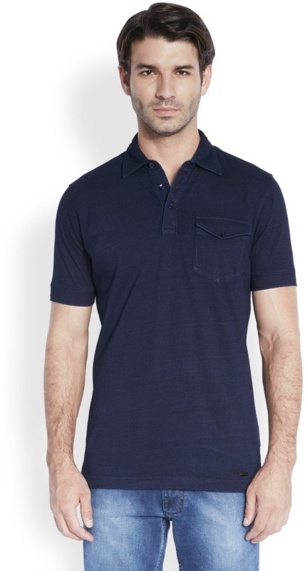 Park Avenue Solid Mens Polo Neck Blue T-Shirt