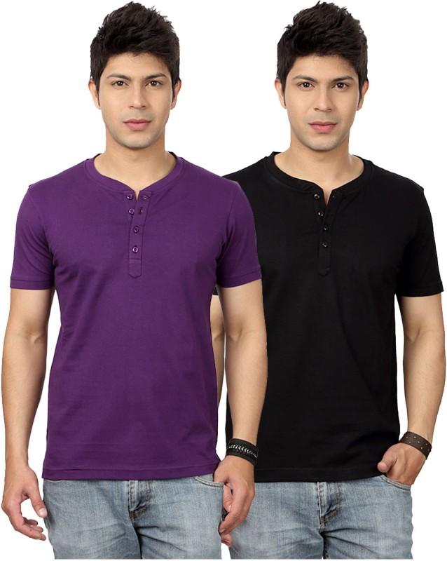 Top Notch Solid Men's Henley Purple, Black T-Shirt(Pack of 2)