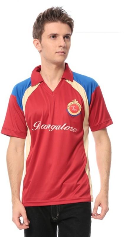 T10 Sports Solid Men's Mandarin Collar Red T-Shirt