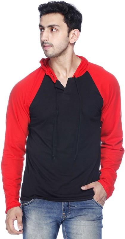 Demokrazy Solid Men's Hooded Red, Black T-Shirt