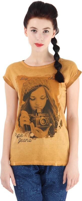Pepe Jeans Graphic Print Women Round Neck Yellow T-Shirt