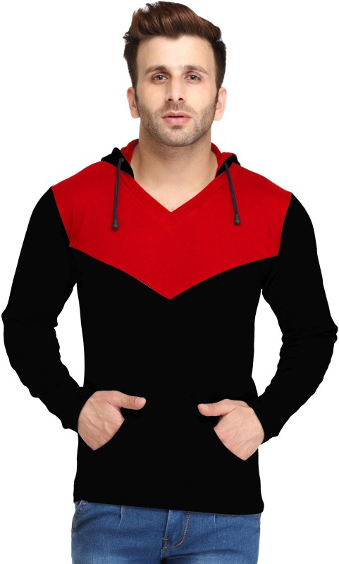 Leana Solid Men's Hooded Red, Black T-Shirt