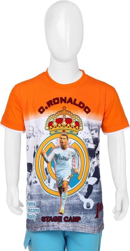 1st Attitude Boys Printed T Shirt(Orange)