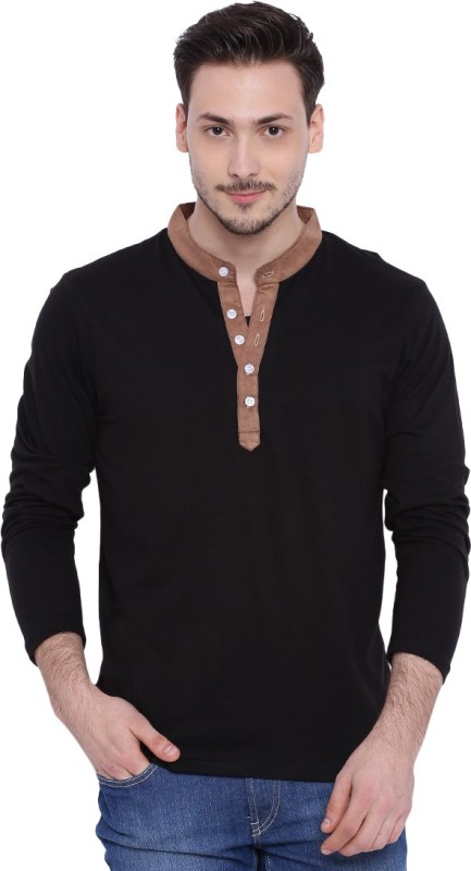 Campus Sutra Solid Men Henley Black T-Shirt