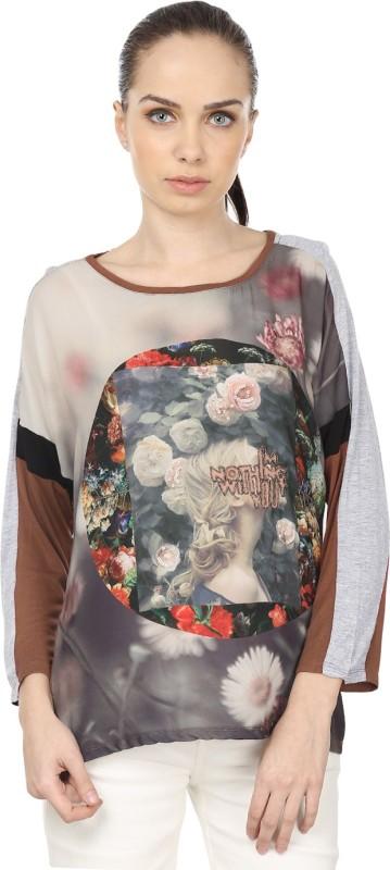 Raw Designs Printed Women's Round Neck Grey, Brown T-Shirt