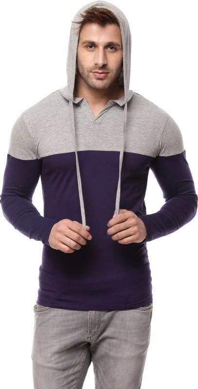 Gritstones Solid Men's Hooded Grey, Blue T-Shirt