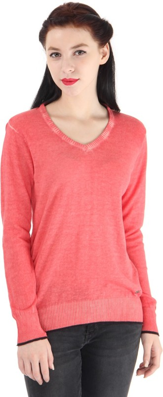 Pepe Jeans Solid Women V-neck Pink T-Shirt