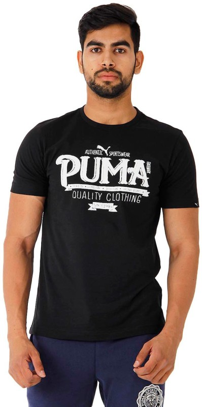 Puma Printed Men's Round Neck Black T-Shirt