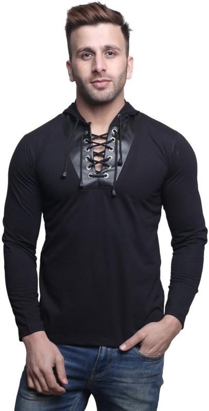 Leana Solid Men's Hooded Black T-Shirt