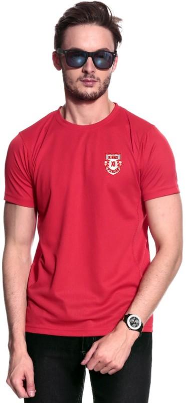 Kings XI Punjab Solid Men's Round Neck Red T-Shirt