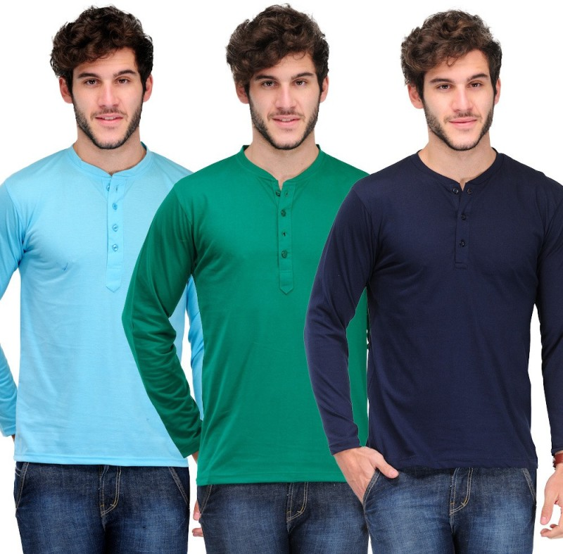 TSX Solid Men's Henley Multicolor T-Shirt(Pack of 3)