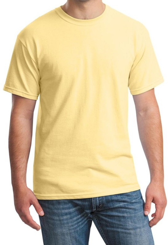 Rapphael Solid Men's Round Neck Yellow T-Shirt