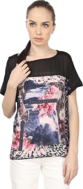 Raw Designs Printed Women's Fashion Neck Grey, Black T-Shirt