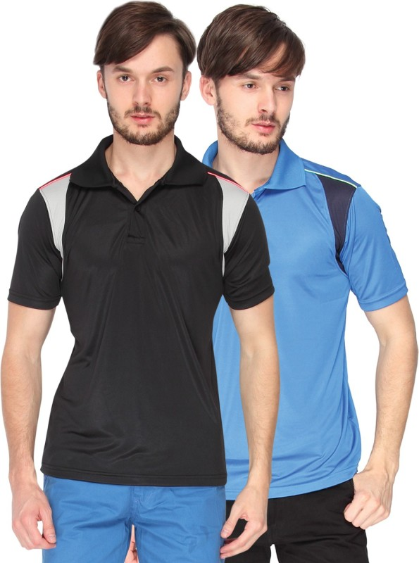 CAMPUS SUTRA Solid Men Polo Neck Blue, Black T-Shirt(Pack of 2)