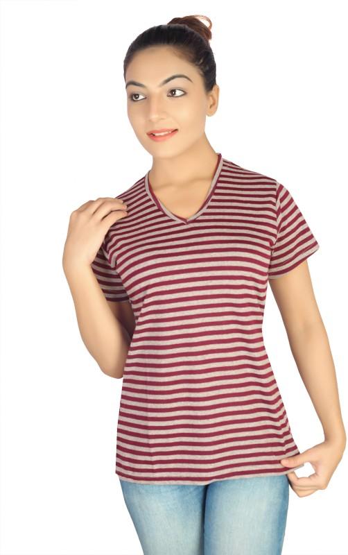 Vod Sports Striped Women's V-neck Maroon T-Shirt