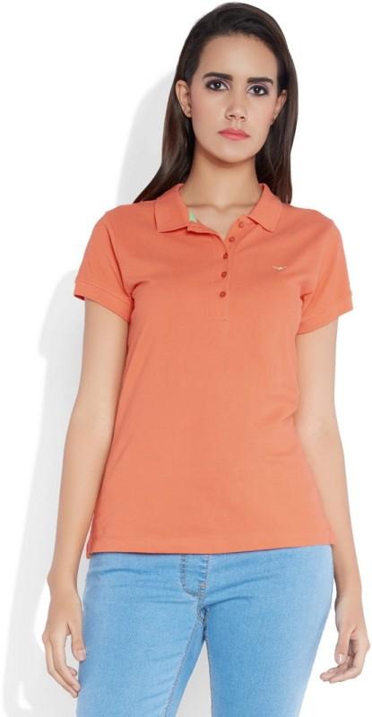 Park Avenue Solid Women's Flap Collar Neck Orange T-Shirt