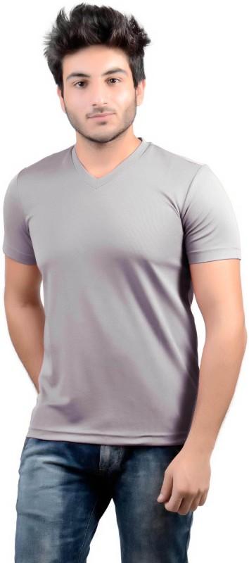 DS WORLD Solid Men's V-neck Grey T-Shirt