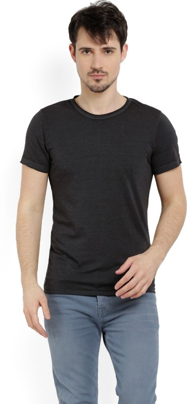 Peter England Solid Mens Round Neck Black T-Shirt