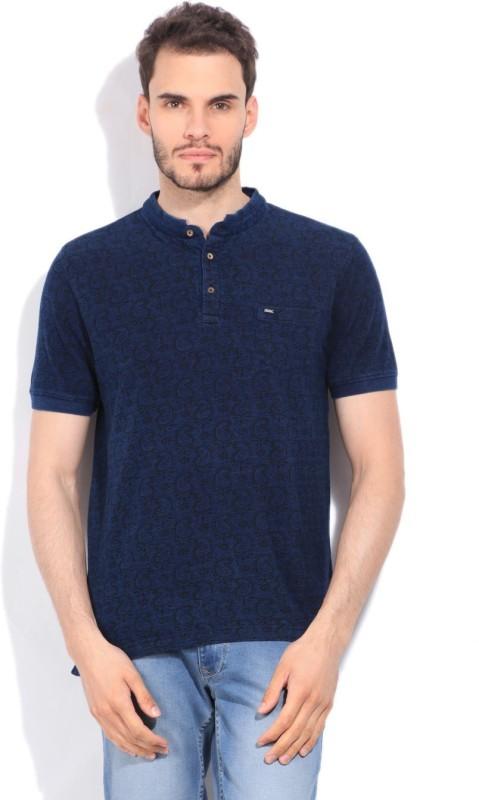 Indian Terrain Printed Mens Henley Dark Blue T-Shirt