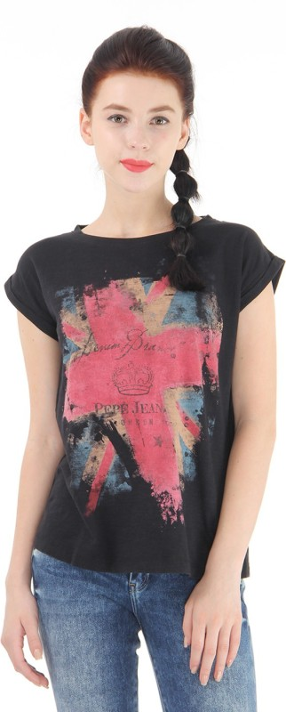 Pepe Jeans Graphic Print Women Round Neck Black T-Shirt