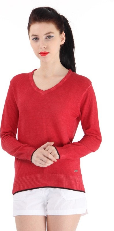Pepe Jeans Solid Women V-neck Red T-Shirt