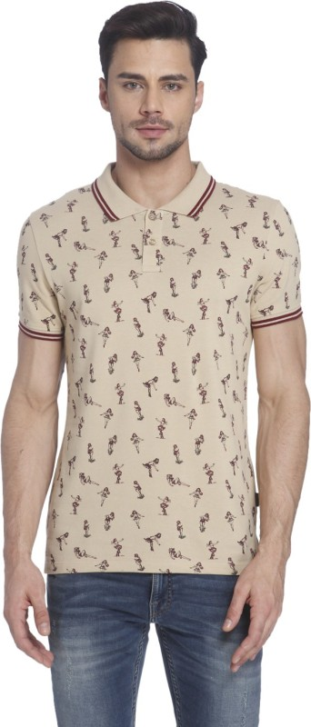 Jack & Jones Printed Mens Polo Neck Beige T-Shirt