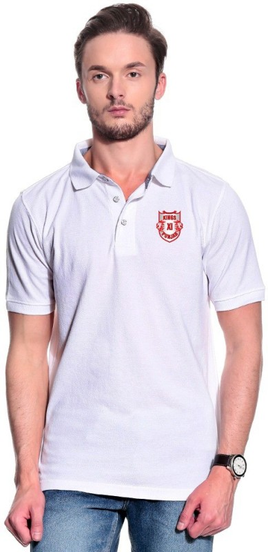 Kings XI Punjab Solid Men's Polo Neck White T-Shirt