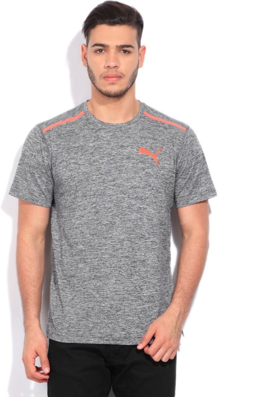 Puma Solid Men's Round Neck Grey T-Shirt