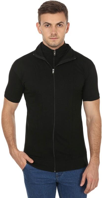 Black Collection Solid Men's Turtle Neck Black T-Shirt