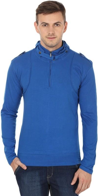 Black Collection Solid Men's Turtle Neck Blue T-Shirt