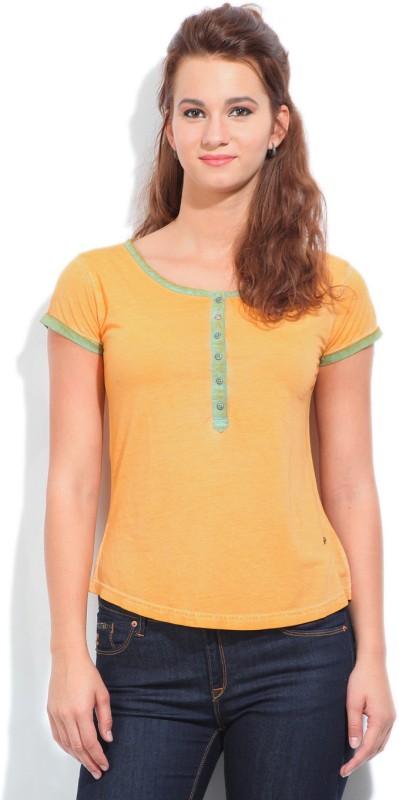 Wrangler Solid Womens Henley Orange T-Shirt