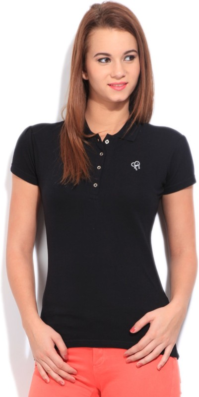 Flying Machine Solid Women's Polo Neck Black T-Shirt