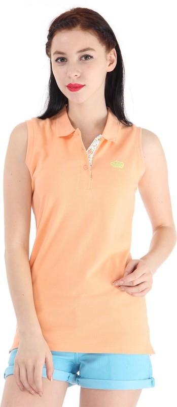 Pepe Jeans Solid Women Polo Neck Orange T-Shirt
